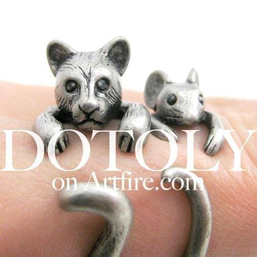 3D Kitty Cat Animal Wrap Around Ring in Silver in US Size 5 to Size 9 | DOTOLY