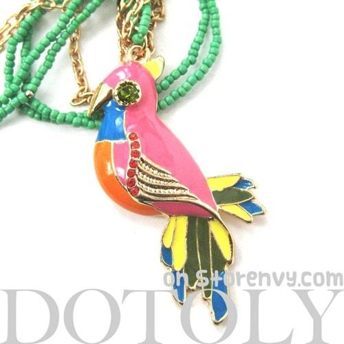 Parrot Bird Animal Pendant Colorful Necklace with Beaded Detail | DOTOLY