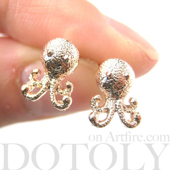 Adorable Octopus Shaped Stud Earrings in Rose Gold | Animal Jewelry | DOTOLY
