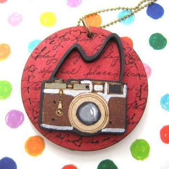 Handmade Camera Lens Photography Pendant Necklace in Red on Wood | DOTOLY