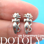 Tiny Kitty Cat with Bow Tie Animal Stud Earrings in Sterling Silver | DOTOLY