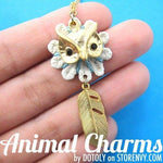 Beautiful Owl Feather Animal Charm in Gold on SALE | DOTOLY | DOTOLY