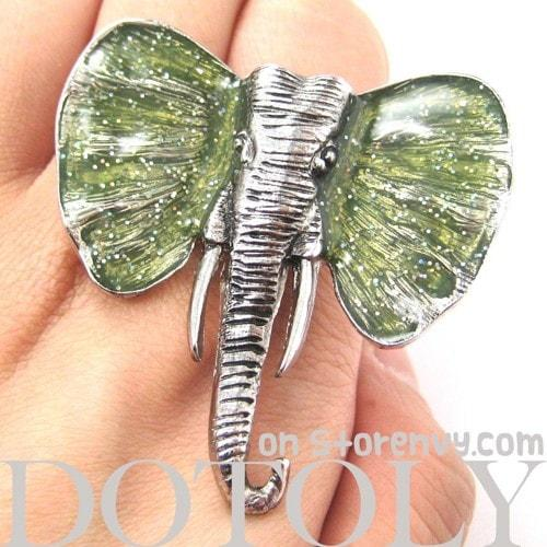 adjustable-elephant-animal-ring-in-silver-with-green-glitter-ears