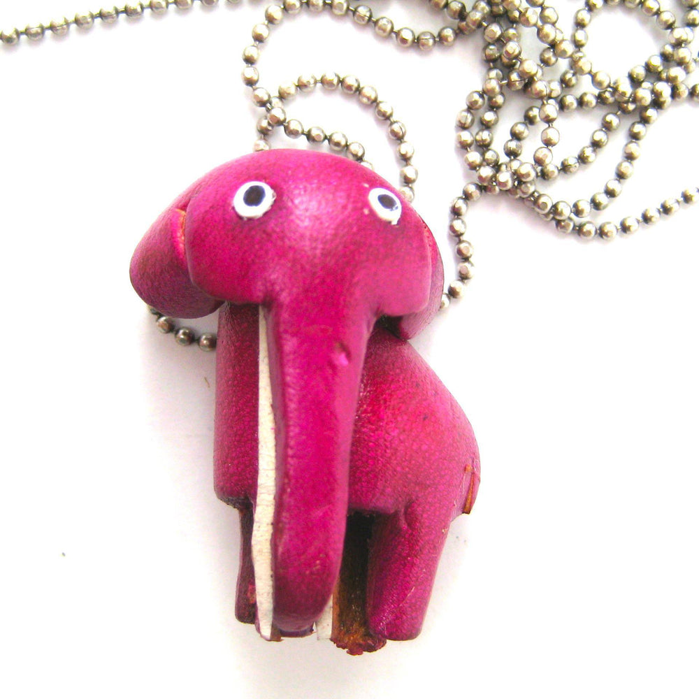 Faux Leather Elephant Animal Charm Necklace with Mobile Strap | DOTOLY