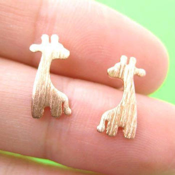Giraffe Silhouette Animal Stud Earrings in Copper with Allergy Free Earring Posts | DOTOLY