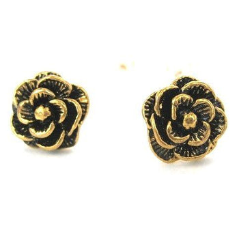 Large Floral Rose Textured Stud Earrings in Bronze | DOTOLY | DOTOLY