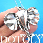 Classic Elephant Animal Pendant Necklace in Shiny Silver | DOTOLY