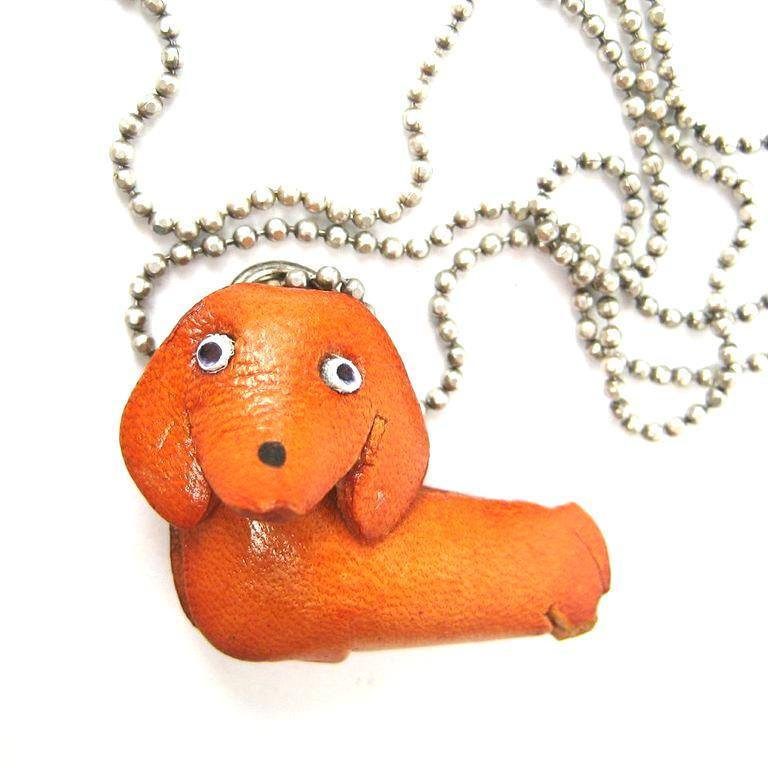 Faux Leather Dachshund Puppy Dog Animal Pendant Necklace with Mobile Strap | DOTOLY