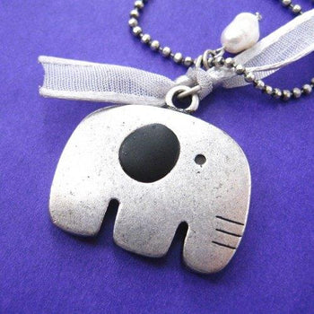 Adorable Elephant Animal Pendant Necklace in Silver on SALE | DOTOLY