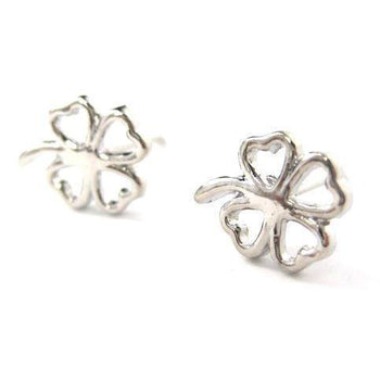 Four Leaf Clover Shaped Floral Stud Earrings in Silver | DOTOLY | DOTOLY