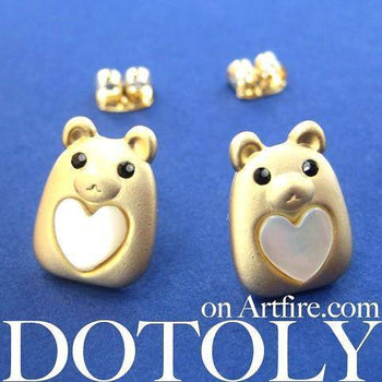 Teddy Bear Animal Stud Earrings in Gold with Hearts | ALLERGY FREE | DOTOLY