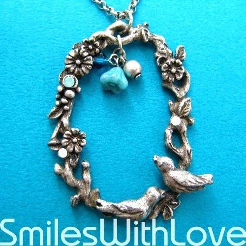detailed-floral-wreath-necklace-with-love-birds-in-silver