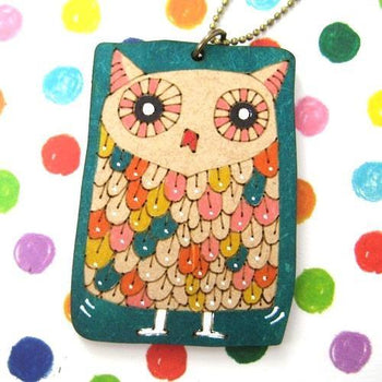Owl Bird Animal Hand Drawn Pendant Necklace in Green Ink on Wood | DOTOLY