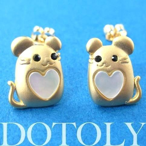 Mouse Mice Animal Stud Earrings in Gold with Heart Shaped Detail | ALLERGY FREE | DOTOLY