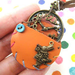Alice in Wonderland Inspired Pocket Watch Pendant Necklace in Orange | DOTOLY