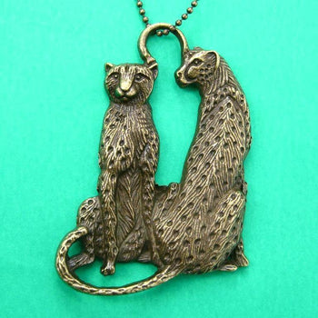 Leopard Cheetah Animal Pendant Necklace in Bronze | Animal Jewelry | DOTOLY