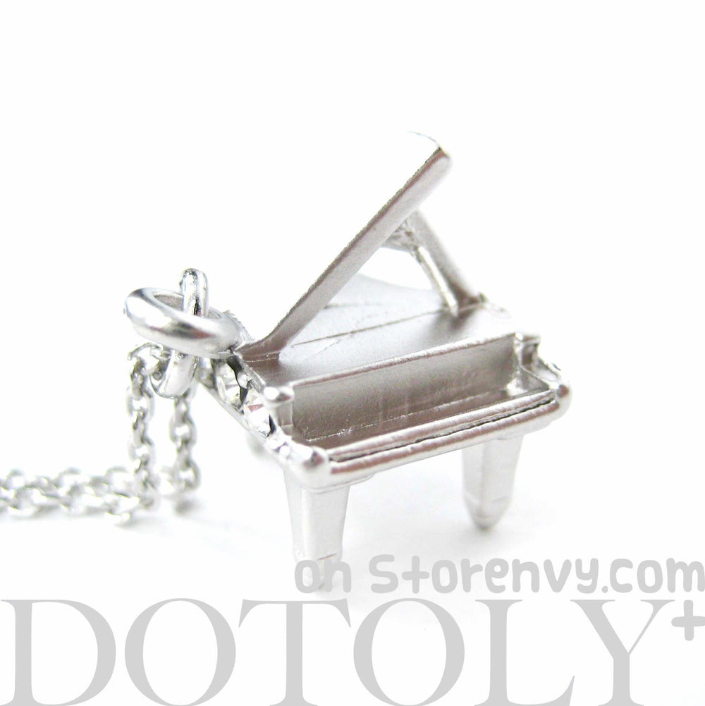 Miniature Music Realistic Grand Piano Pendant Necklace in Silver | DOTOLY