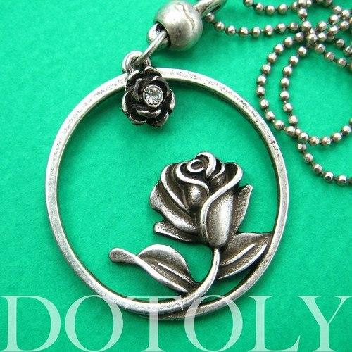 Beauty and the Beast Inspired Rose Round Pendant Necklace Silver | DOTOLY