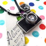 Camera Lens Pendant with Flash Necklace in Black on Silver | DOTOLY