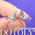 Unicorn Mythical Creatures Animal Shaped Stud Earrings in Sterling Silver | DOTOLY