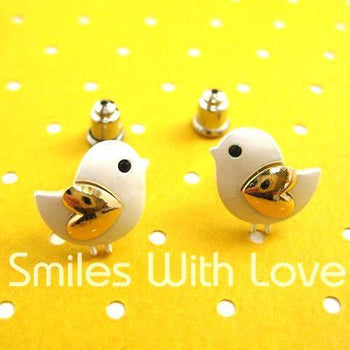 Baby Chick Bird Shaped Animal Stud Earrings with Heart Shaped Wings | DOTOLY