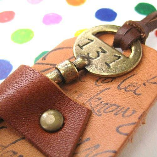 Antique Hotel Key and Leather Luggage Tag Pendant in Brass | DOTOLY