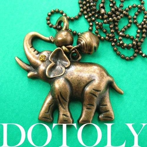 Baby Elephant Animal Pendant Necklace in Bronze with Bell Charm | DOTOLY
