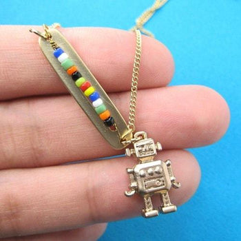 Miniature Robot Pendant Bar Necklace in Gold on SALE | DOTOLY | DOTOLY