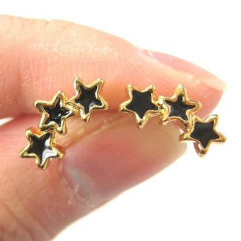 Small Connected Star Shaped Stud Earrings in Black on Gold | DOTOLY