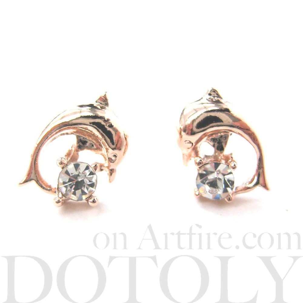 Classic Dolphin Shaped Sea Animal Stud Earrings in Rose Gold with Rhinestones | DOTOLY