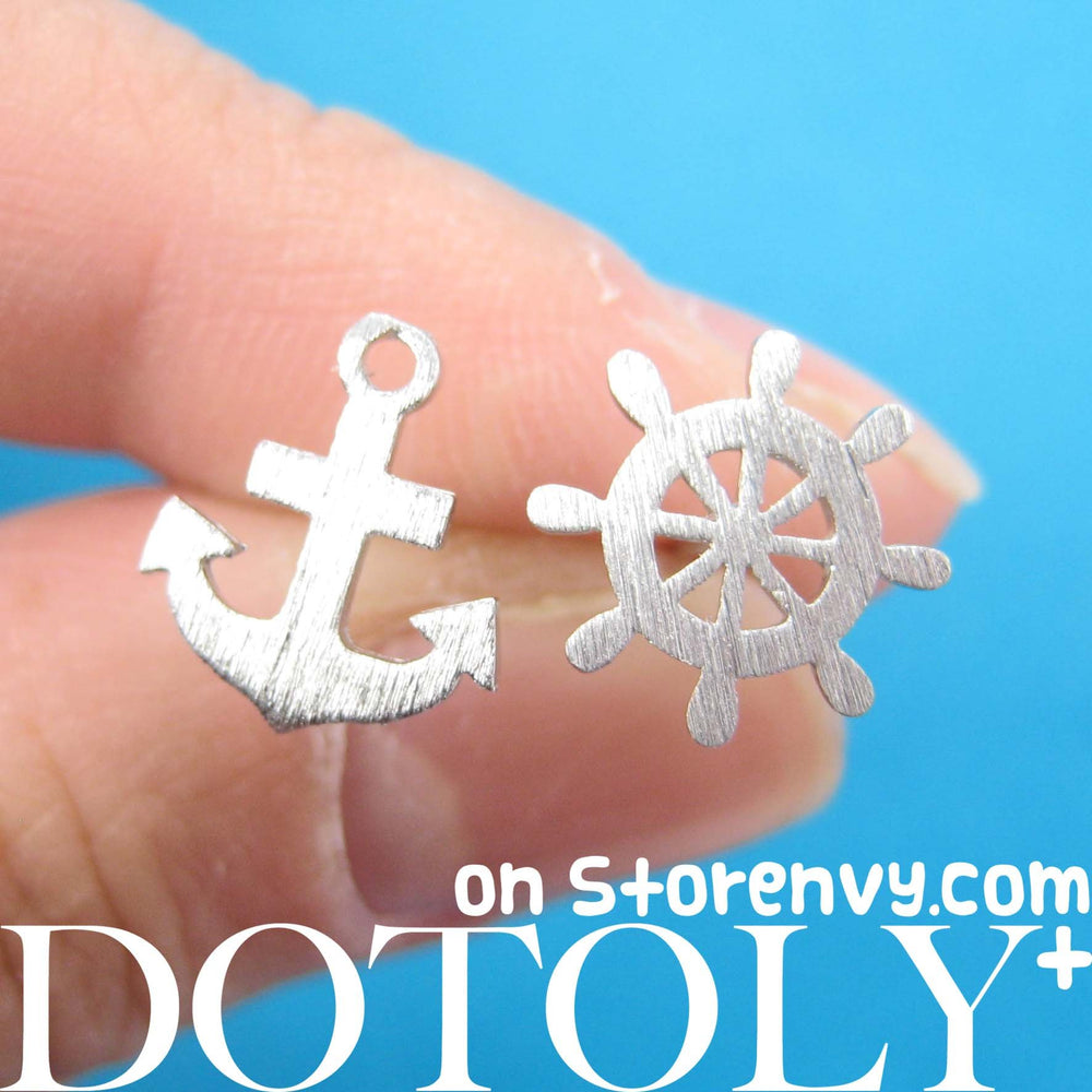 Anchor and Wheel Nautical Themed Stud Earrings with Sterling Silver Posts | DOTOLY