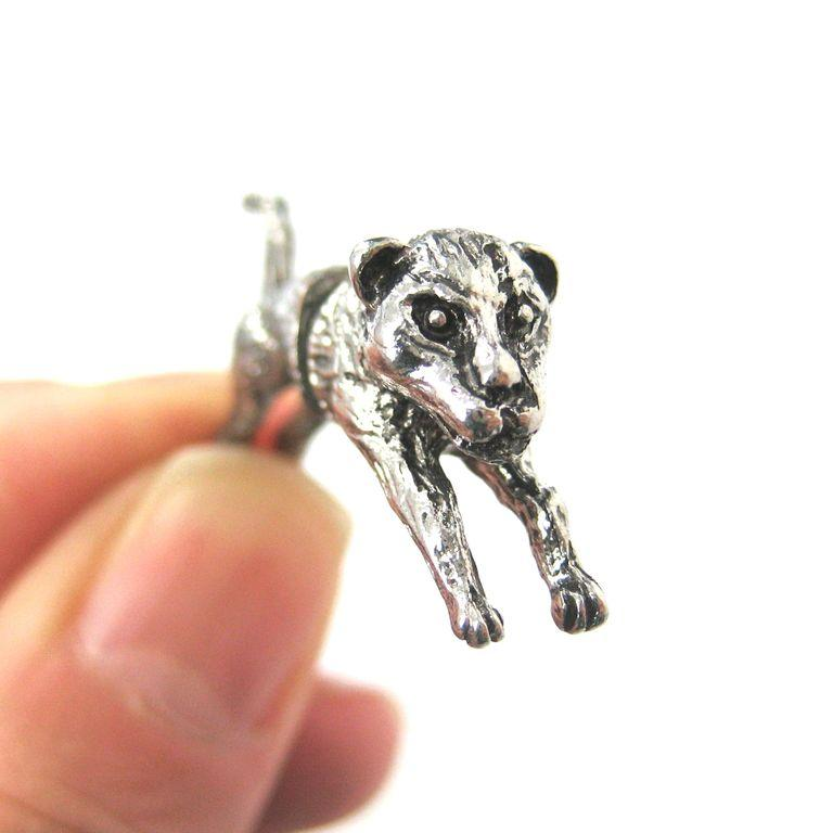 Fox Wolf Wolves 3D Fake Gauge Plug Earrings in Silver | DOTOLY
