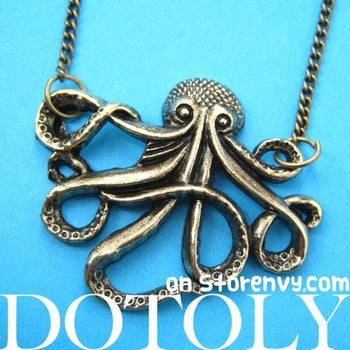 Large Octopus Sea Creature Pendant Necklace in Bronze | Animal Jewelry | DOTOLY