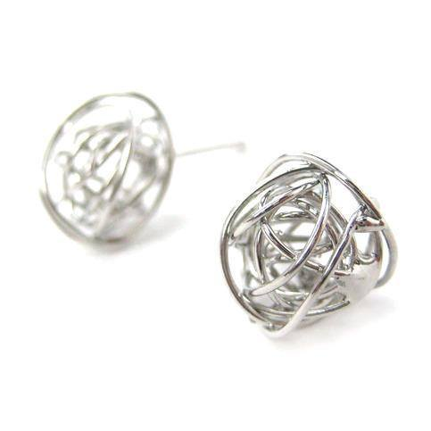 Unique 3D Round Wire Wrapped Stud Earrings in Silver | DOTOLY