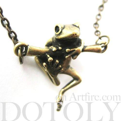 Baby Frog on a Branch Animal Charm Necklace in Bronze | Animal Jewelry | DOTOLY