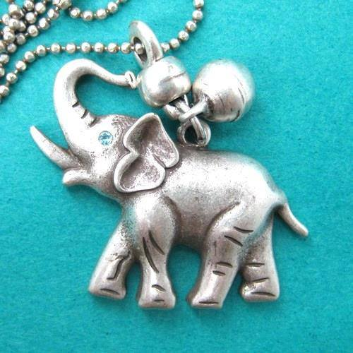 Baby Elephant Animal Pendant Necklace in Silver with Bell Charm | DOTOLY