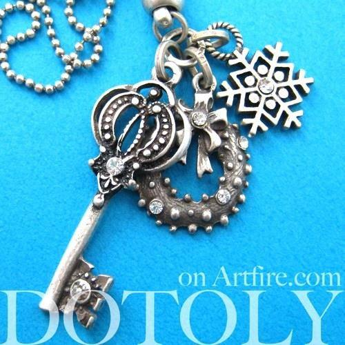 Antique Skeleton Key and Snowflake Pendant Necklace in Silver | DOTOLY