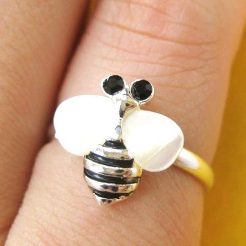 Bumblebee Bee Shaped Animal Adjustable Ring in Silver with Pearl Colored Wings | DOTOLY