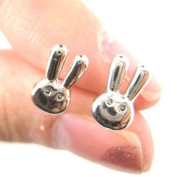 Tiny Bunny Rabbit Miffy Animal Themed Stud Earrings in Silver | DOTOLY