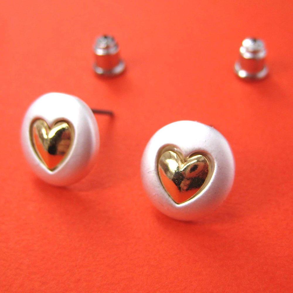 Round Stud Earrings in Silver with Heart Shaped Detail | ALLERGY FREE | SALE | DOTOLY