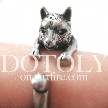 llama Alpaca Shaped Animal Wrap Around Ring in Silver | US Size 4 to 9 | DOTOLY