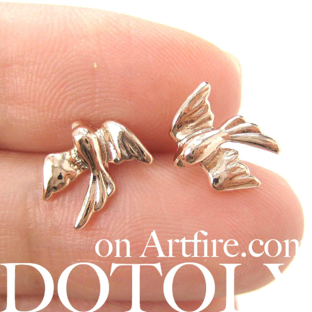 Love Birds Sparrow Dove Animal Shaped Stud Earrings in Rose Gold | DOTOLY