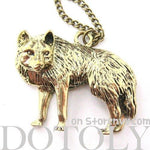 Wolf Fox Animal Pendant Necklace in Bronze | Animal Jewelry | DOTOLY