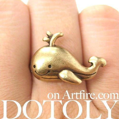Adorable Whale Shaped Adjustable Animal Ring in Brass | DOTOLY | DOTOLY