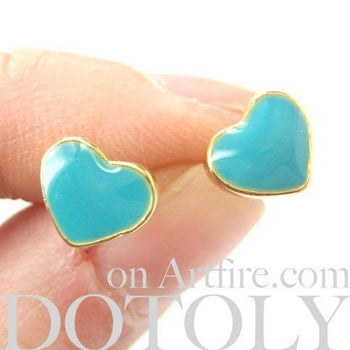 Small Heart Shaped Stud Earrings in Turquoise Blue and Gold | DOTOLY