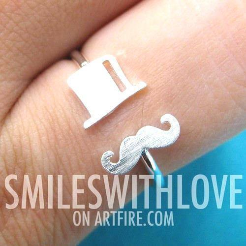adjustable-simple-mustache-and-top-hat-ring-in-silver