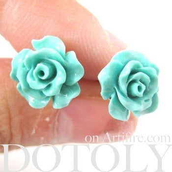 Classic Floral Rose Stud Earrings in Mint Green Blue | DOTOLY | DOTOLY