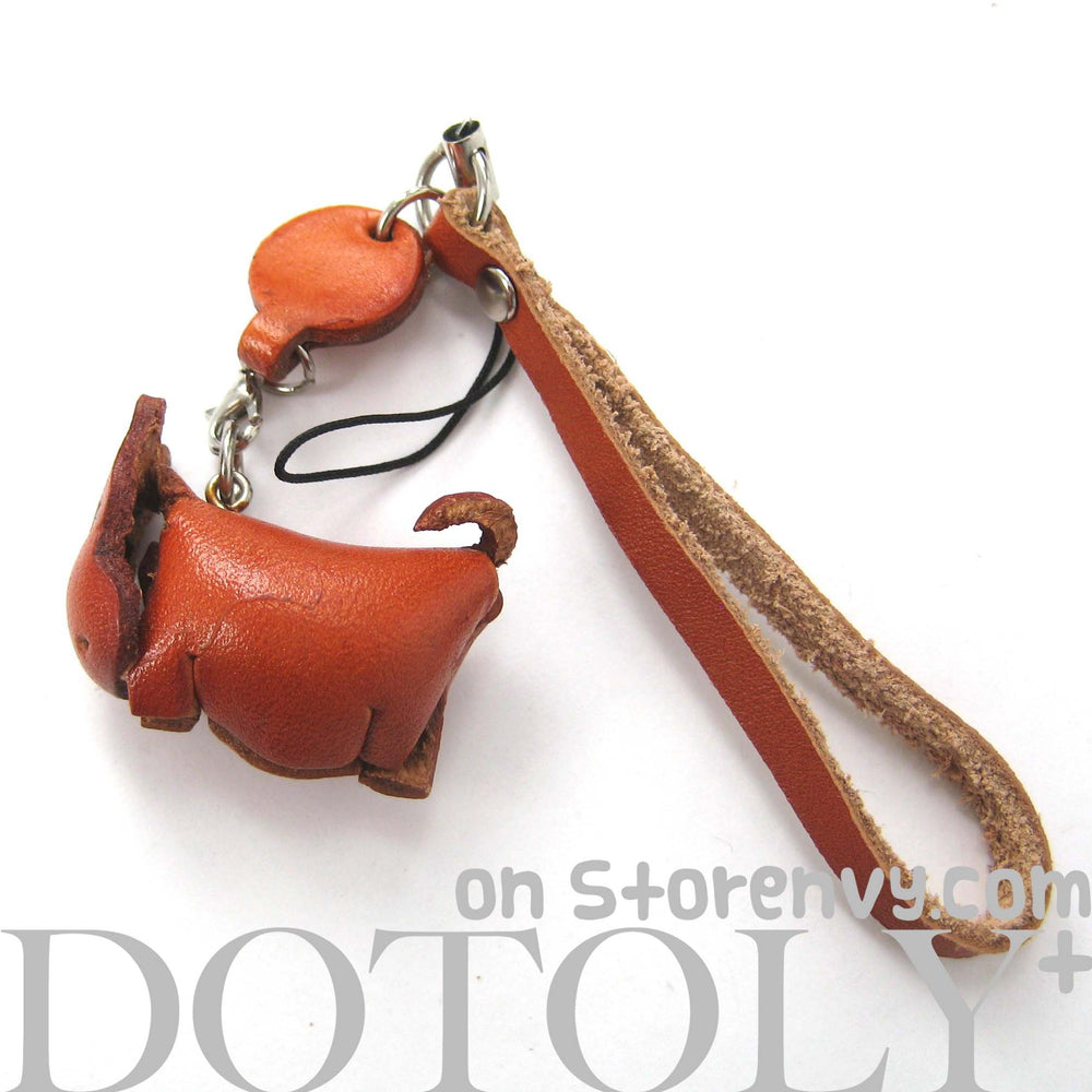 Faux Leather Hippo Animal Charm Necklace with Mobile Strap | DOTOLY