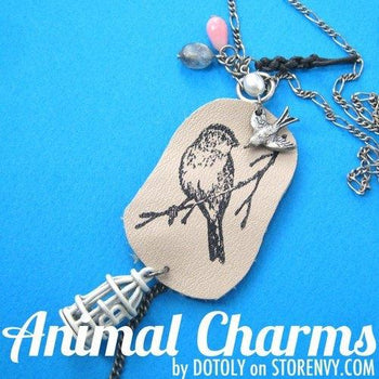 Bird on A Branch Unique Animal Ink Stamped Leather Pendant Necklace | DOTOLY