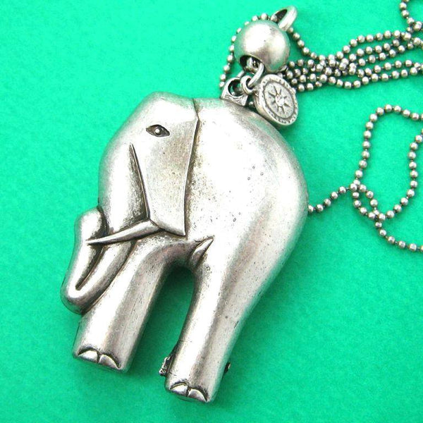 Rustic Motors 3d Custom Made Jewelry Home: 3D Elephant Animal Pendant Necklace In Silver